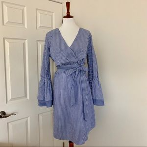 A New Day Tiered Bell Sleeve Wrap Dress